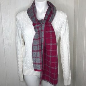 Coach Knit Grey Pink Scarf Leather Tag Reversable